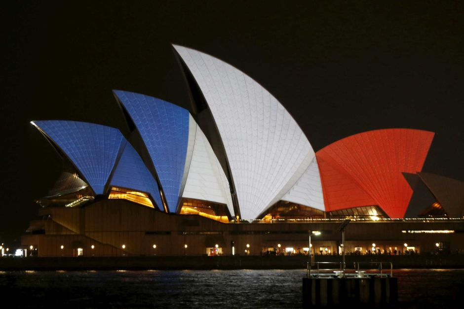Sydney opera house in French flag colours